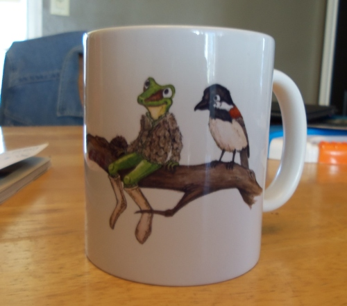My new coffee cup featuring illustrations from my 'soon to be released' children's book: Frog's Winter Walk